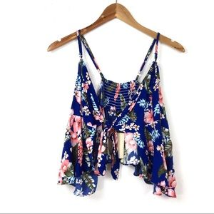 Love J | Tie Front Floral Crop Top